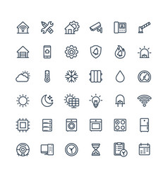 Thin line icons set with home smart house vector