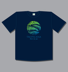 tropical print t shirt palm leaves travel vector image