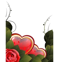 Valentine card with rose and hearts vector image