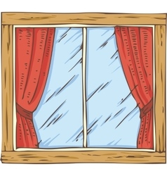 Wooden window with red curtain vector