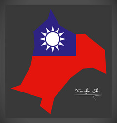 Xinzhu shi taiwan map with taiwanese national flag vector