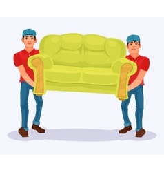 Two men carries a sofa vector