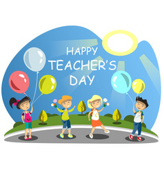 teacher s day group of children giving flowers vector image