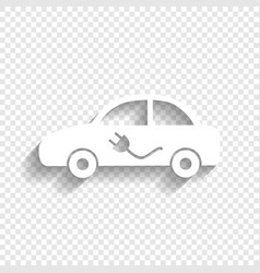 Electric car sign  white icon with soft vector