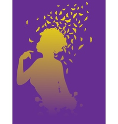 Girl with butterflies2 vector