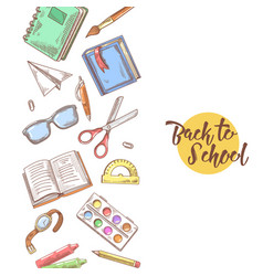 Back to school hand drawn educational concept vector