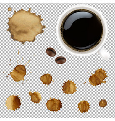 Cup of coffee with stains set vector