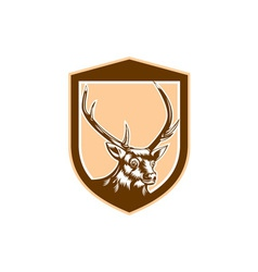 Deer stag buck head woodcut shield vector