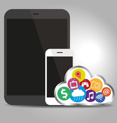 Devices technology with cloud concept vector