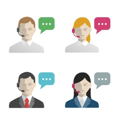 Support and call center avatar flat icons vector