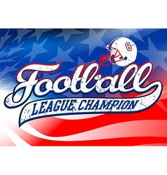 Football league champion on usa flag vector