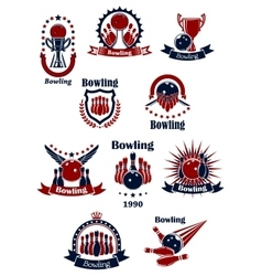 Bowling retro icons with balls and ninepins vector image