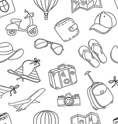 Summer vacation sketch doodle seamless pattern vector image