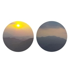 Round mountains sunrise watercolors painting vector