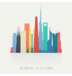 Modern different colors skyline cityscape isolated vector