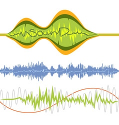 Set of isolated music volume waves vector
