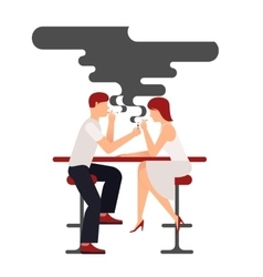 People sit and smoke cigarettes vector
