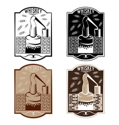 Vintage labels of whiskey with copper whiskey vector
