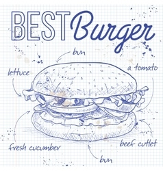 Burger recipe on a notebook page vector