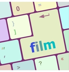 Film button on computer pc keyboard key vector