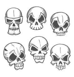 Artistic skeleton skulls sketches icons vector