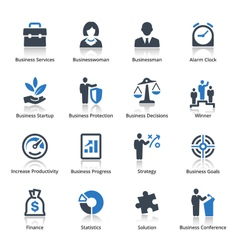 Business Icons Set 1 - Blue Series vector image vector image