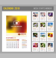 calendar template 2018 vector image vector image