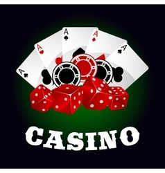 Casino icon with dice chips and poker aces vector