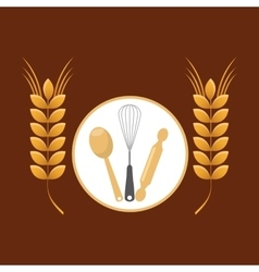 Cookware and wheat spike vector