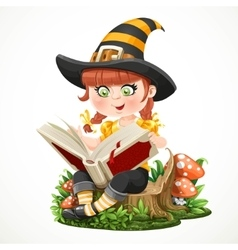 Cute little girl witch sitting on a tree stump and vector
