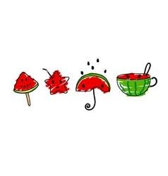 Cute watermelon design on white background vector image vector image