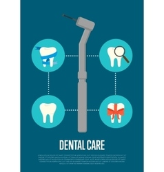 Dental care banner with dentist drill vector
