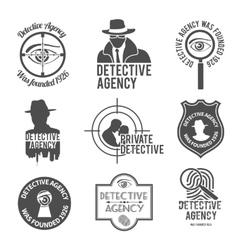 Detective label set vector image vector image