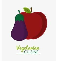 eggplant and apple fruit vegetable vegetarian vector image