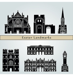 Exeter landmarks and monuments vector image vector image
