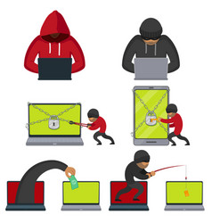flat style hackers using laptop stealing money vector image