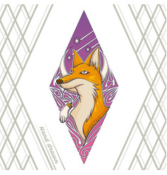 fox tattoo hand drawn vector image
