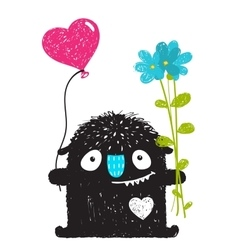 Funny monster with flowers and heart balloon vector