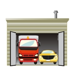 Garage with car vector