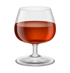 Glass with red wine on white vector