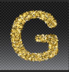 Gold glittering letter g shining golden vector