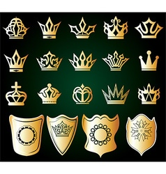 Gold shield and crown set vector