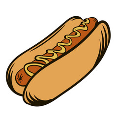 Hot dog with mustard icon cartoon vector