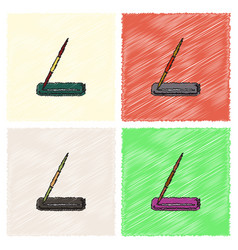Javelin throw in hatching style vector