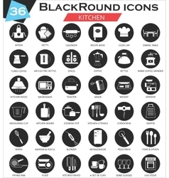 Kitchen circle white black icon set ultra vector