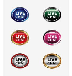 Live chat tag icon set vector