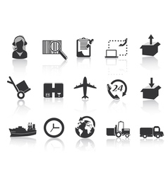 logistics and shipping icons vector image