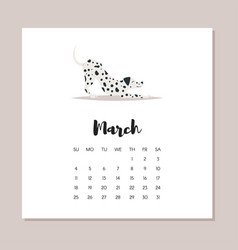 march 2018 dog year calendar vector image vector image