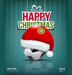 Merry christmas santa hat on soccer ball vector