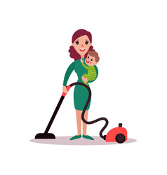 Mother with baby in her arms cleaning the floor vector